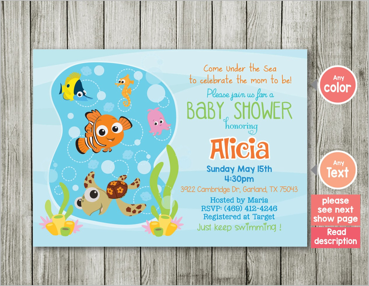 Finding Nemo Baby Shower Invitation Template