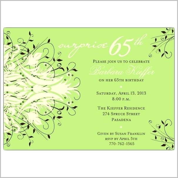 Free 65th Birthday Party Invitation Templates