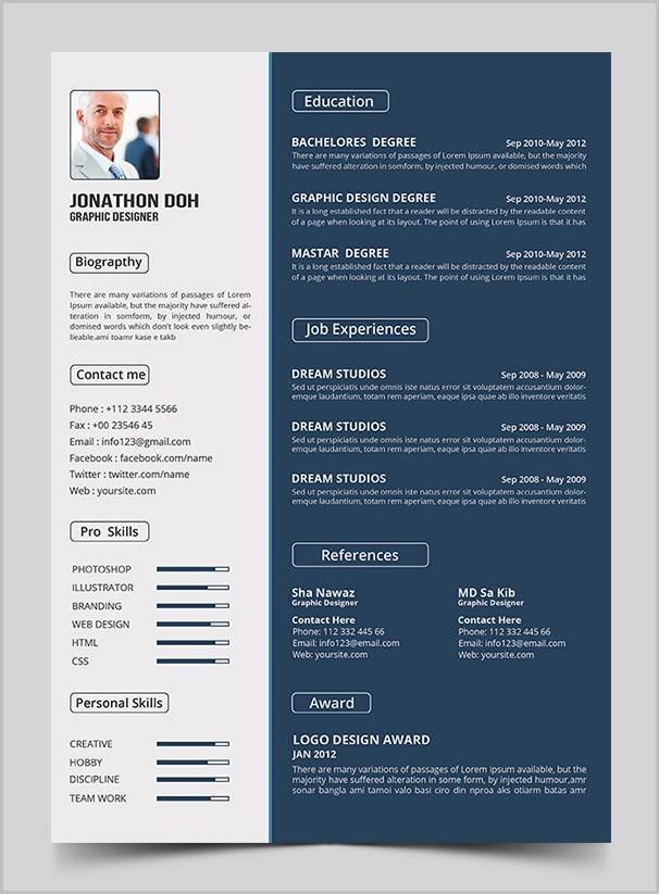 Free Creative Designer Resume Template Psd