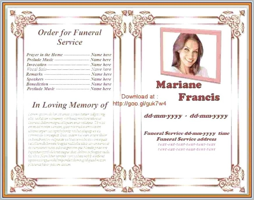 Free Funeral Program Template Microsoft Word 2003