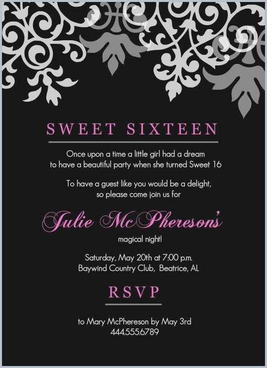 Free Invitation Templates For Sweet 16
