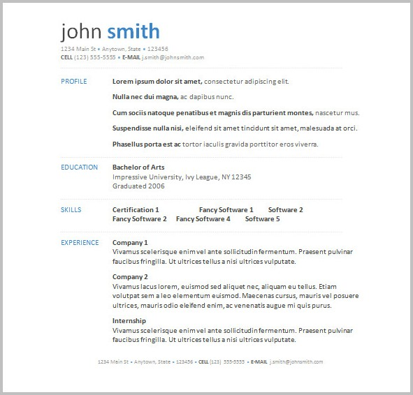 Free Resume Templates For Word Download