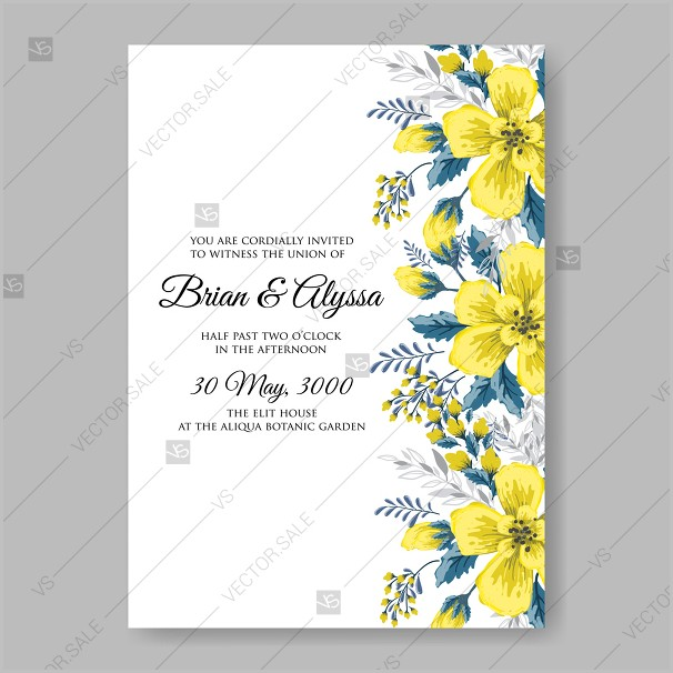 Free Yellow Wedding Invitation Templates