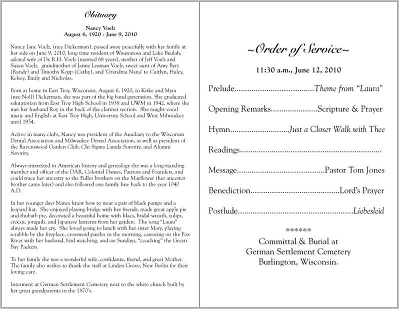 Funeral Program Samples Wordings