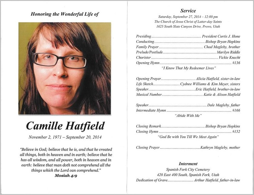 Funeral Program Template Lds