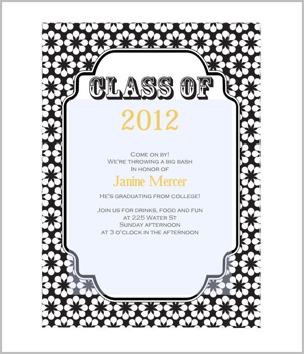 Graduation Invitation Templates For Word