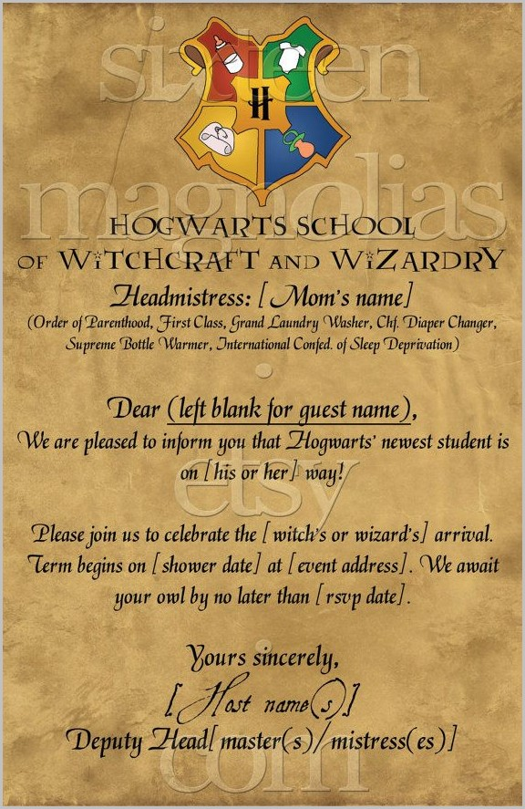 Harry Potter Baby Shower Invitation Template Free