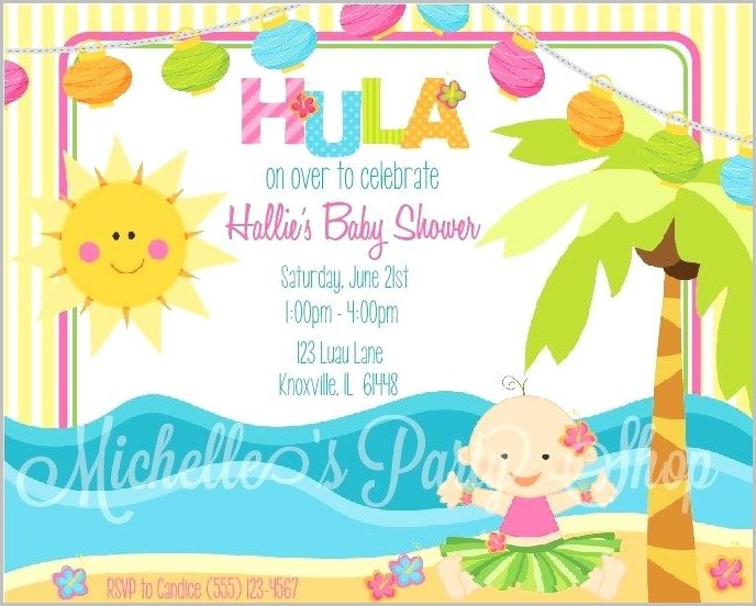 Hawaiian Baby Shower Invitation Templates