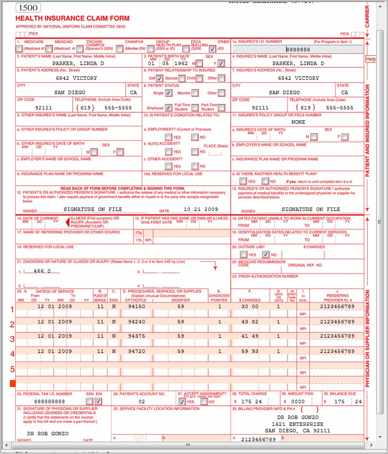 Hcfa 1500 Form Example