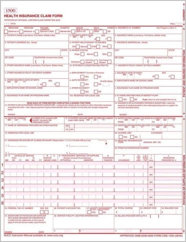 Hcfa 1500 Form Printable