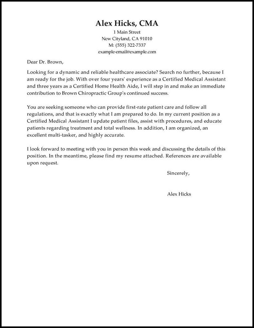 Healthcare Resumes And Cover Letters