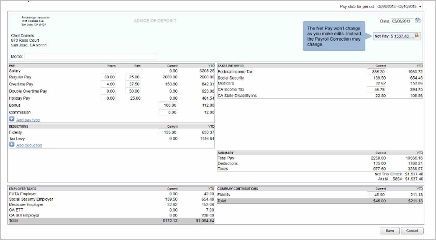 Intuit Pay Stub Template