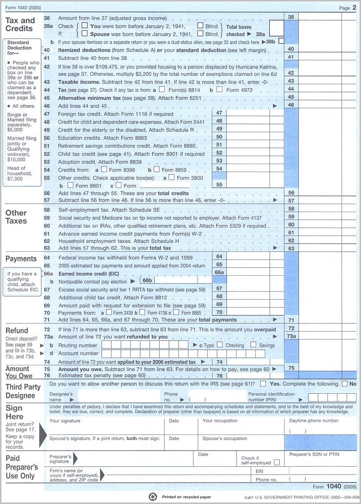 Irs Form 1040 Year 2016