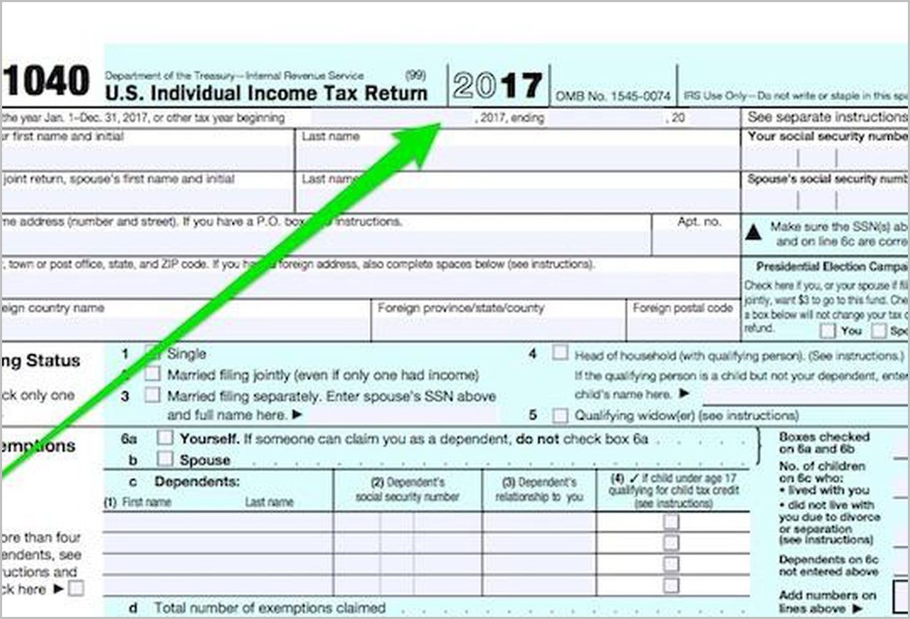 Irs Form 1040 Year 2017