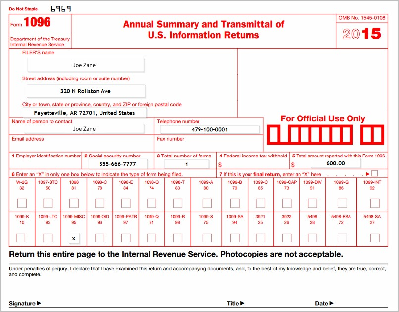 Irs Forms 1099 And 1096
