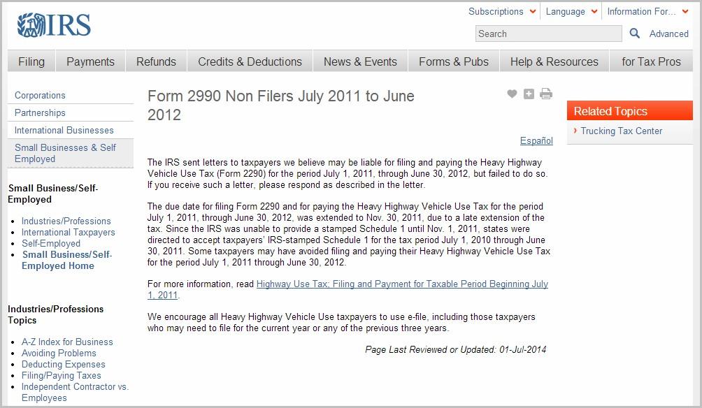 Irs Tax Form 2290