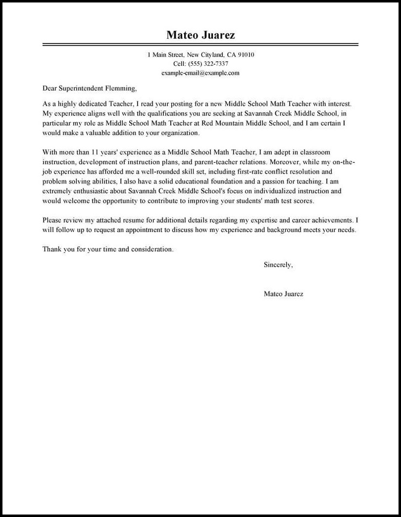 Job Resume Cover Letter Template