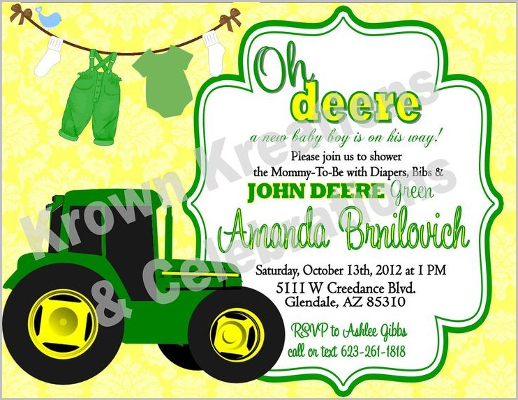 John Deere Baby Shower Invitation Template