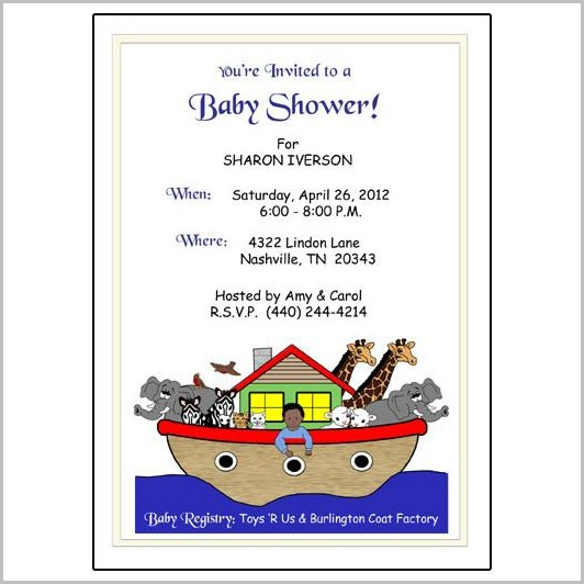 Noah's Ark Baby Shower Invitation Template