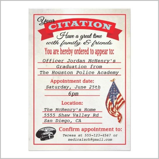 Police Academy Graduation Invitation Templates