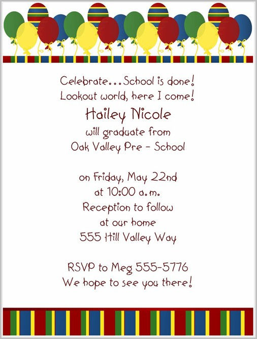 Pre K Graduation Invitation Templates