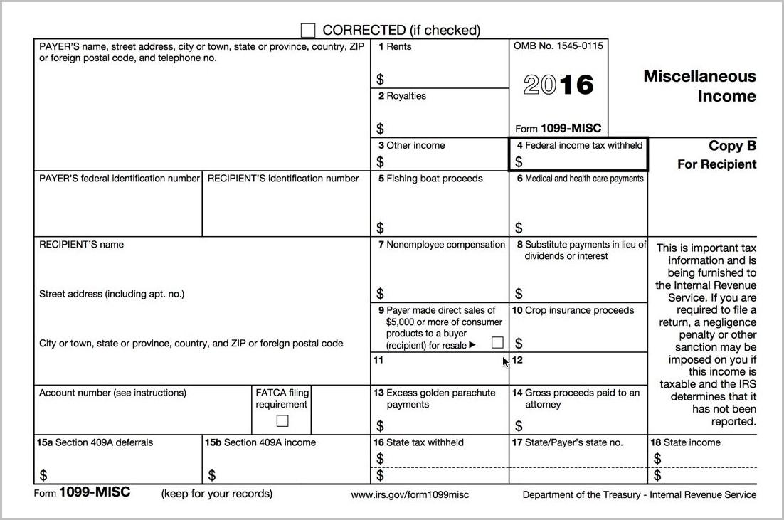 Printable 1099 Form 2016