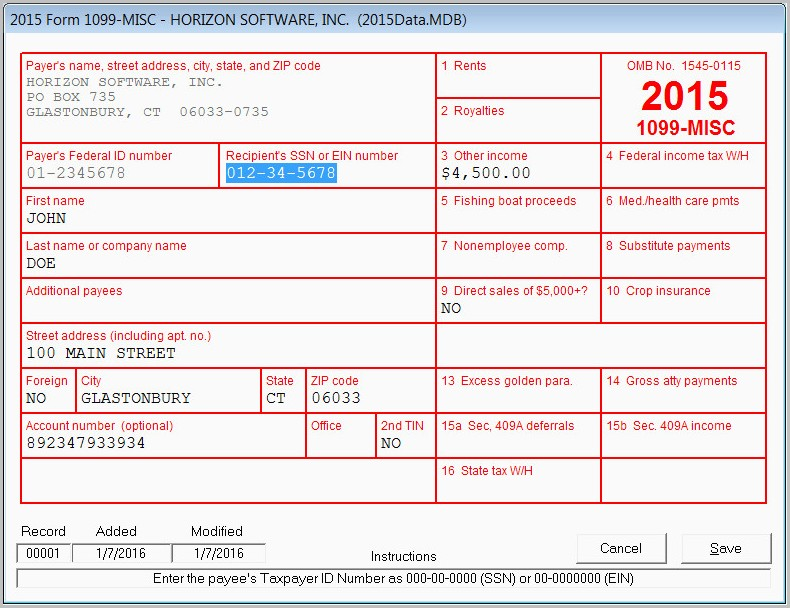 Printable 1099 Misc Form 2015