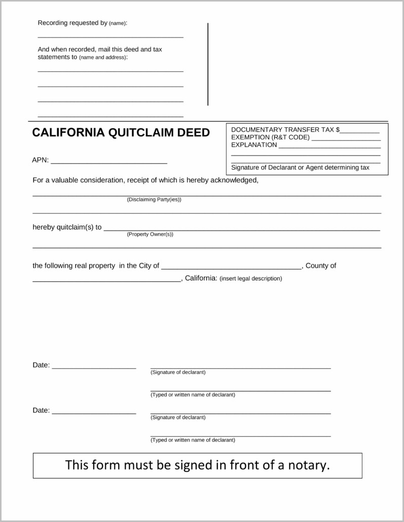 Quick Claim Deed Form For California