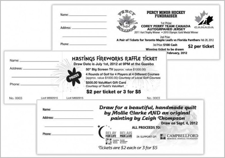 Quilt Raffle Ticket Template