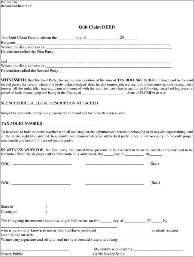 Quit Claim Deed Form Pdf Florida