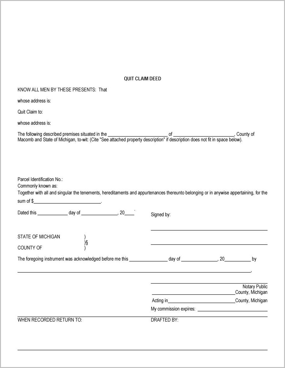 Quit Claim Deed Form Printable