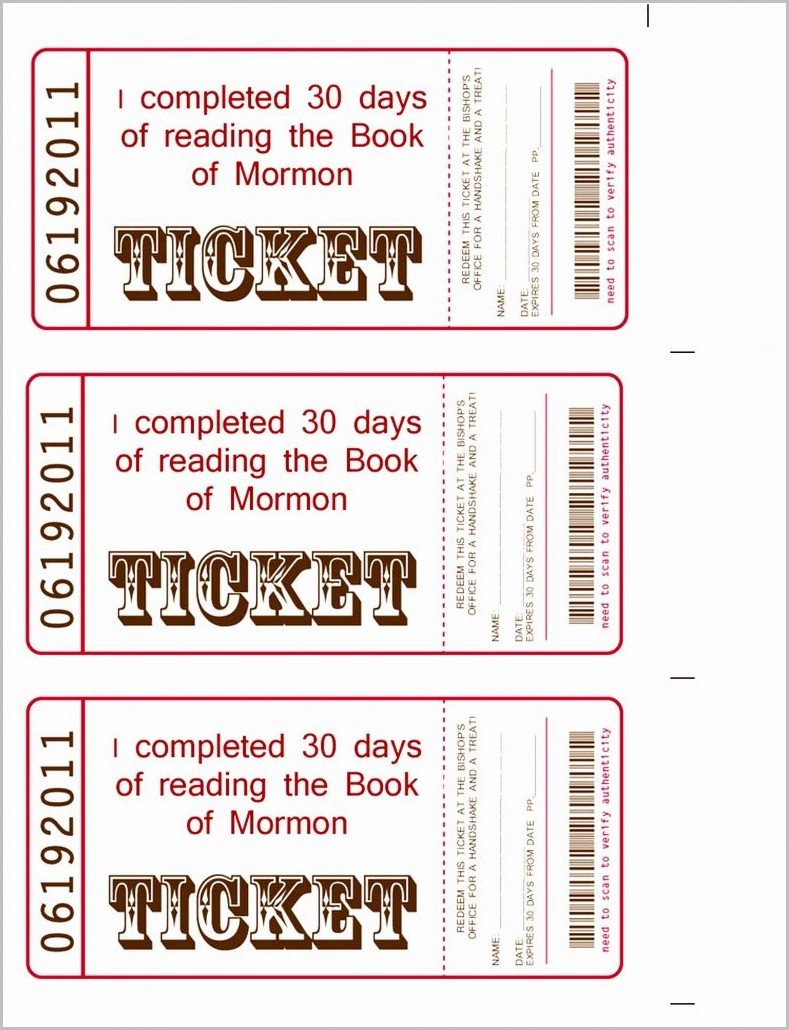 Raffle Ticket Book Template
