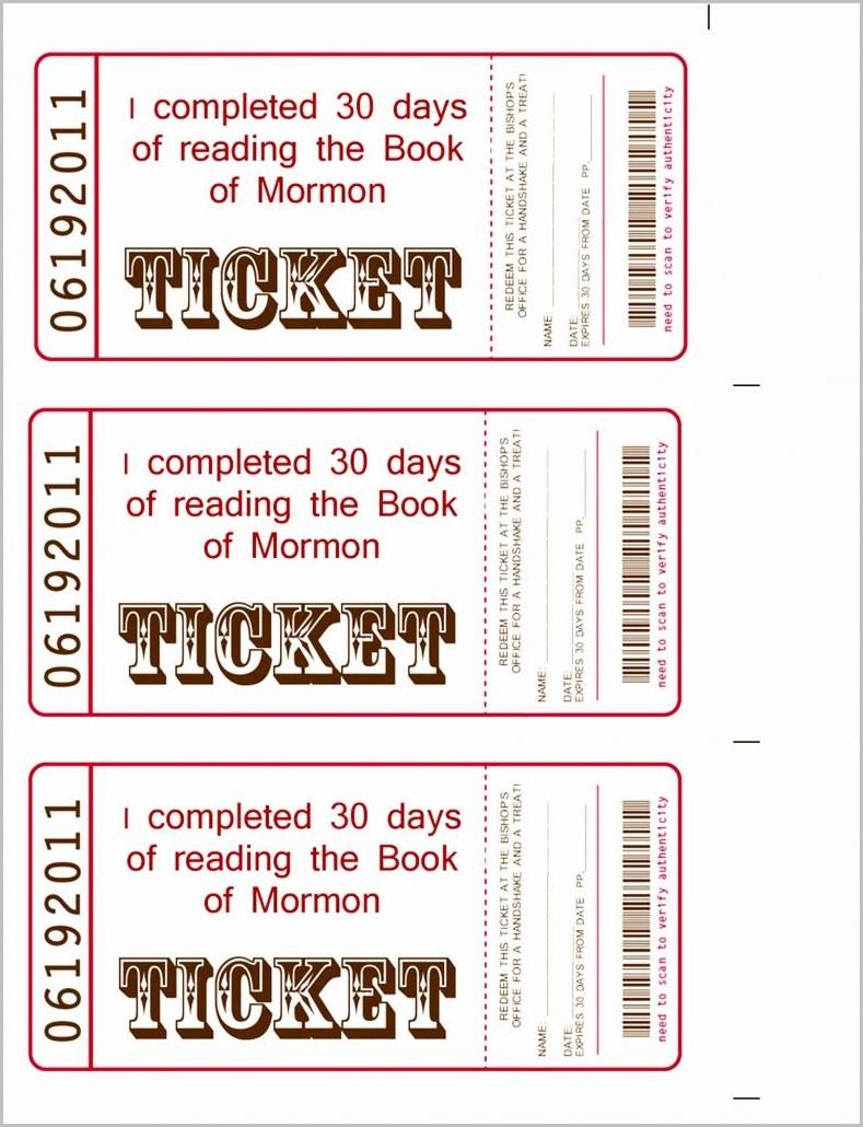 Raffle Ticket Book Template