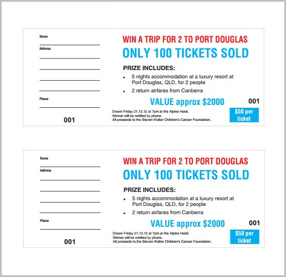 Raffle Ticket Design Template