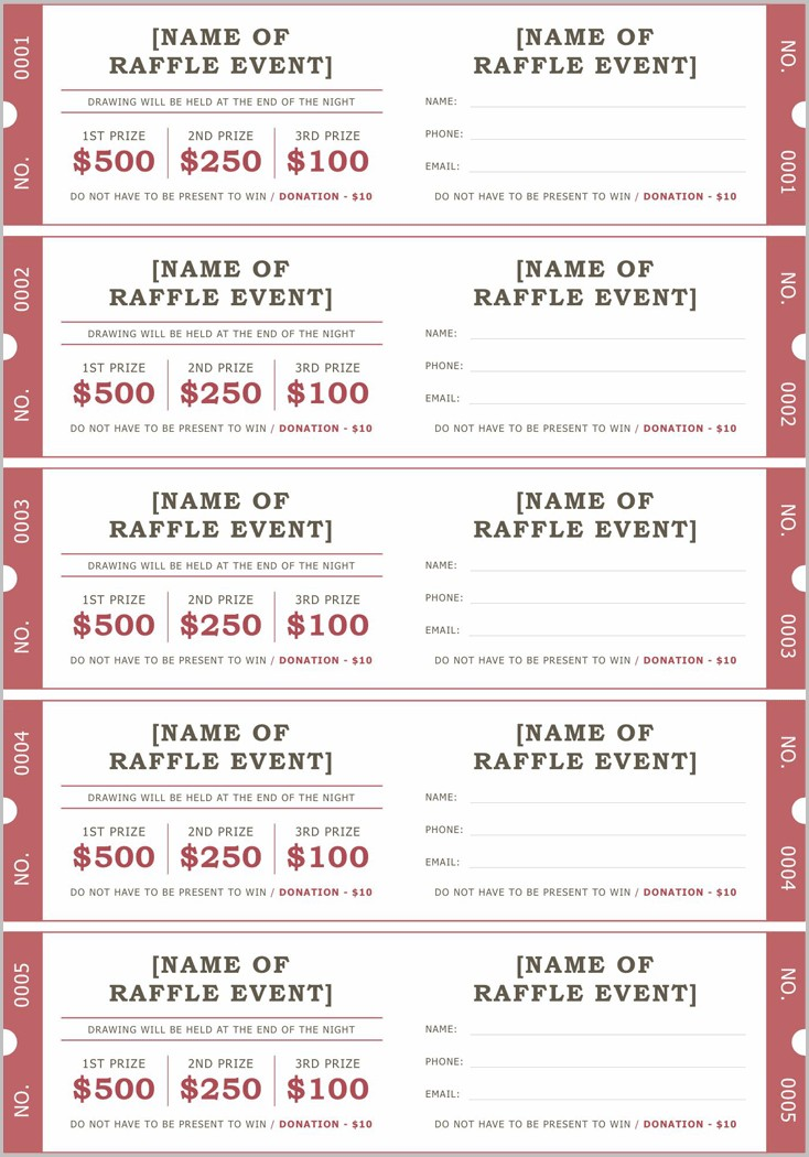 Raffle Ticket Samples Templates Free