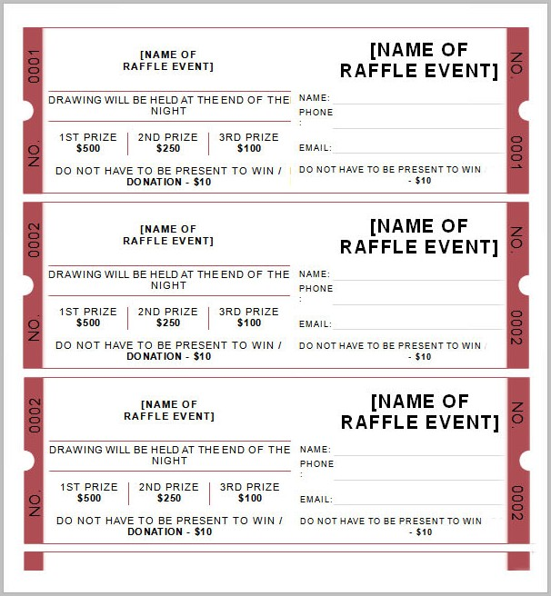 Raffle Ticket Template Download