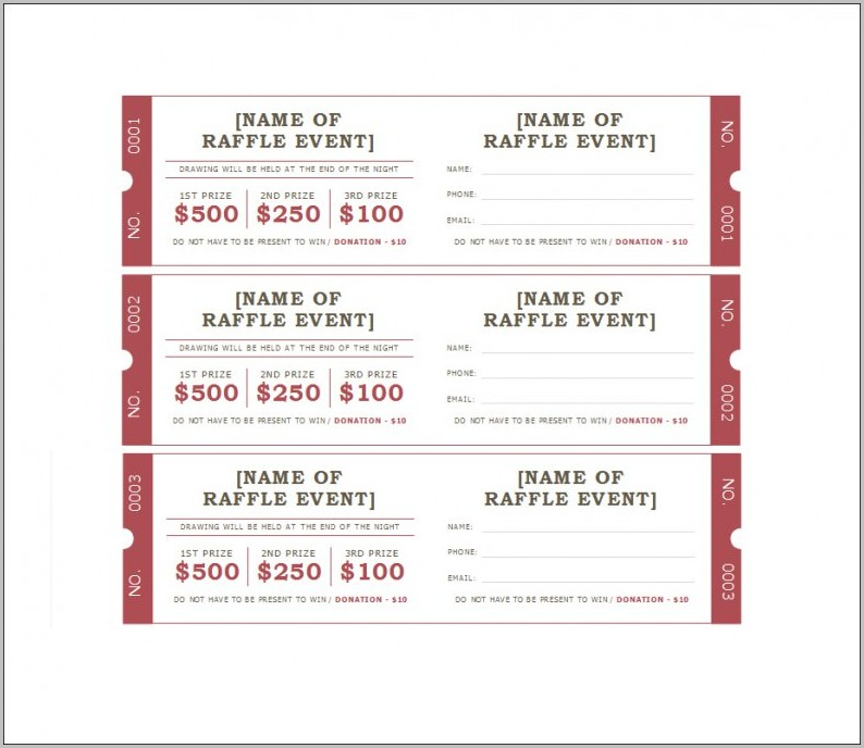 Raffle Ticket Template Google Docs
