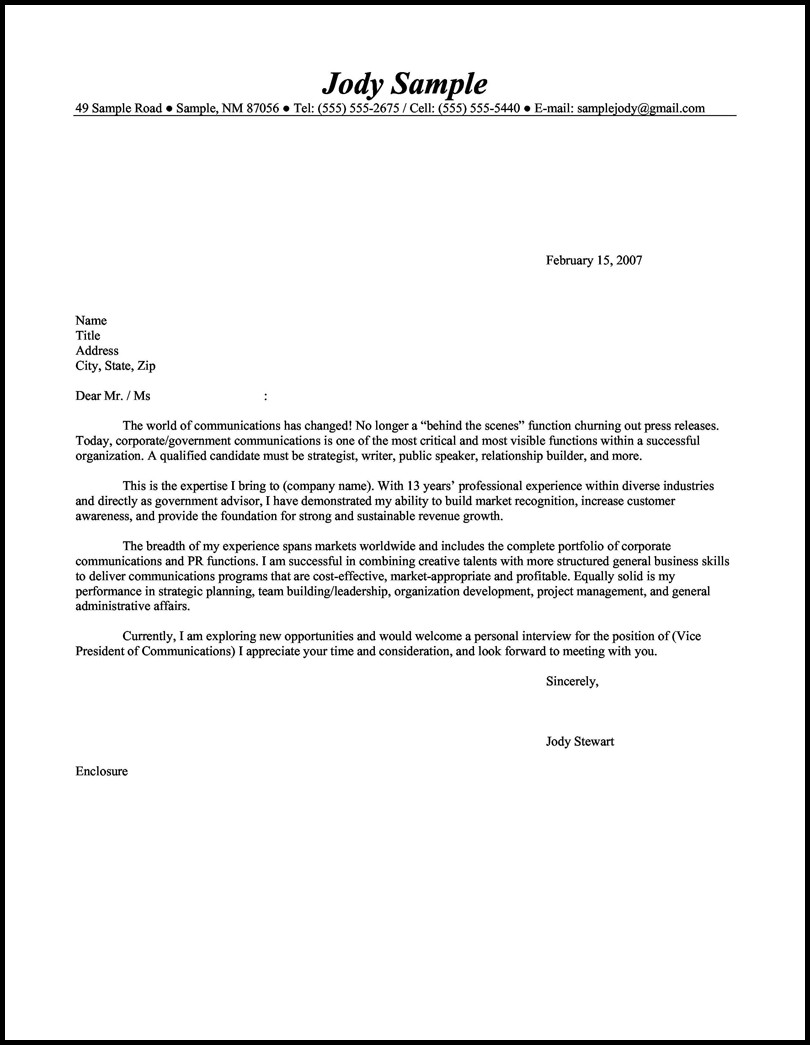 Resumes And Cover Letters Samples