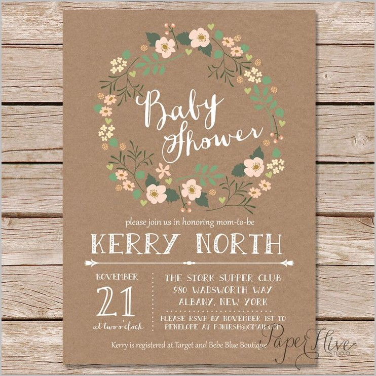 Rustic Baby Shower Invitation Template