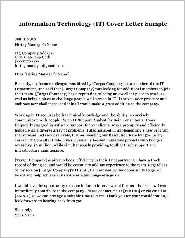 Sample Cover Letter For Resume Information Technology