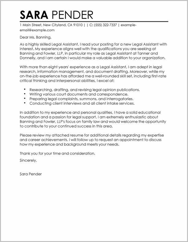 Sample Cover Letter For Resume Legal Assistant