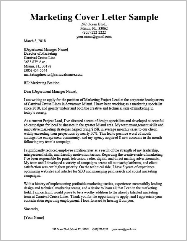 Sample Cover Letter For Resume Marketing