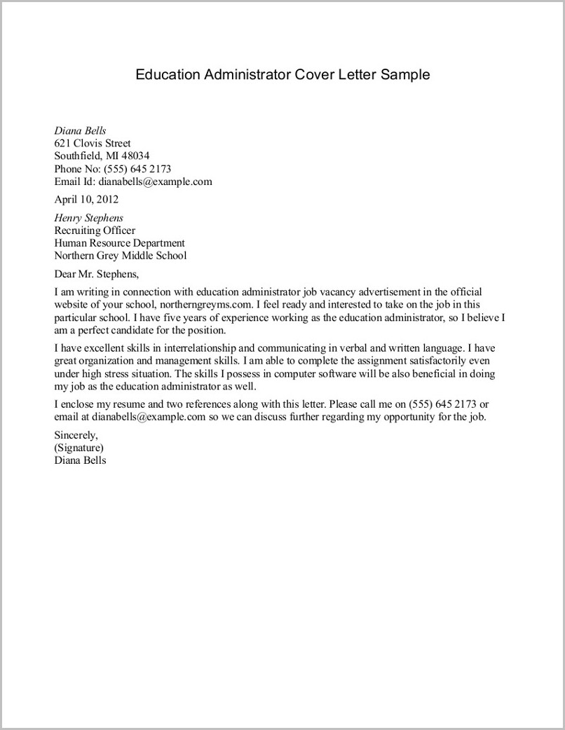 Sample Cover Letter For Resume School Administrator