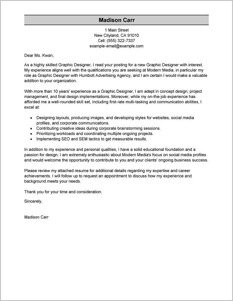 Sample Cover Letter For Resume With No Work Experience