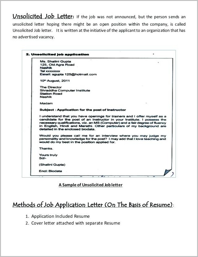 Sample Cover Letter For Unsolicited Resume