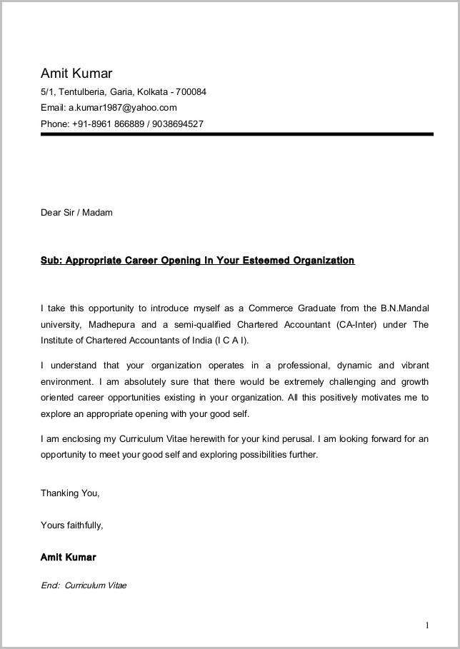Sample Cover Letters For Resumes Free