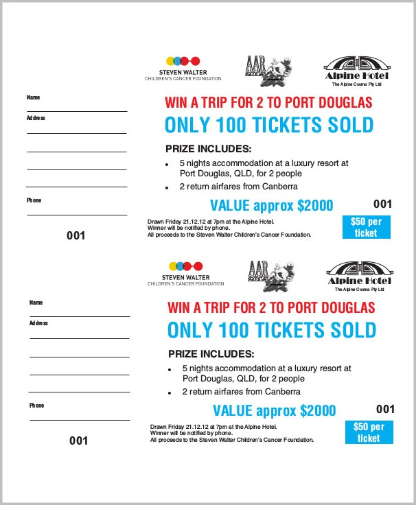 Sample Of A Raffle Ticket Template
