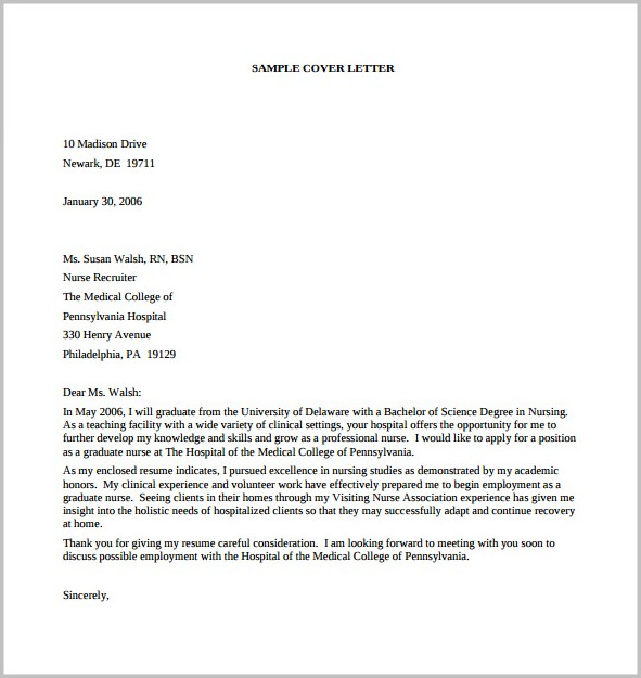 Sample Of Cover Letter For Resume Pdf
