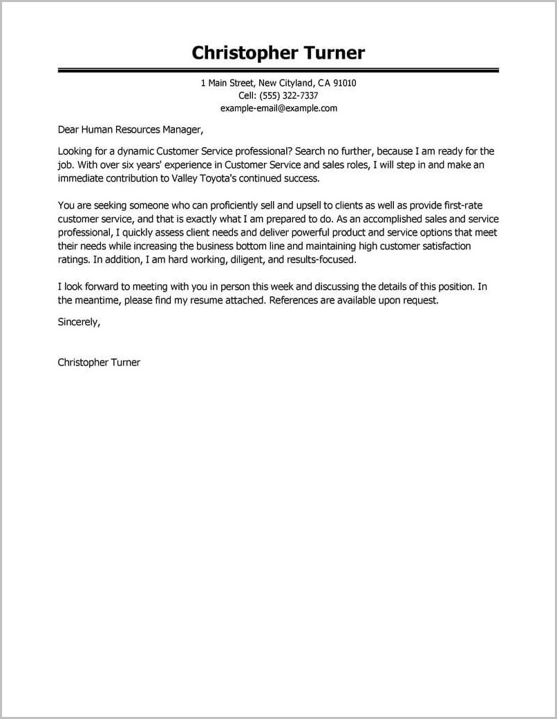 Sample Professional Resumes And Cover Letters