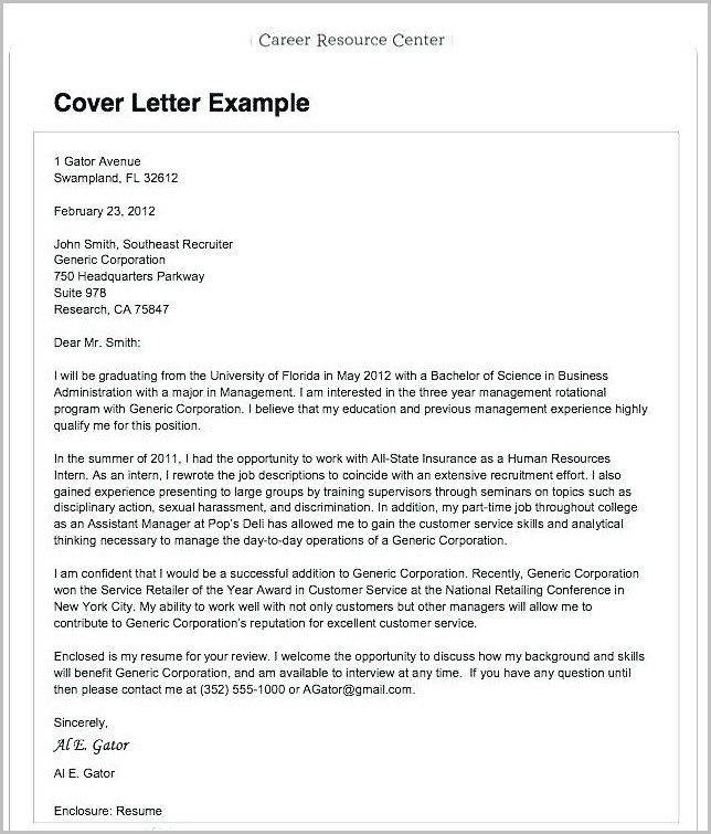 Sample Resume Cover Letter Applying Job